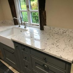 Bianco Foresta - Therfield, Hertfordshire - Rock and Co Granite Ltd Engineered Stone, White Quartz, Country Style, Double Vanity, Granite, Marble, Stones, Kitchen, Home Decor