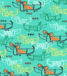 Snuggle Flannel Fabric-Fancy Weiner Dog