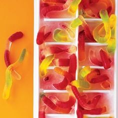 """For """"bug juice"""" freeze gummy worms in an ice cube and then mix with your favorite drink"""