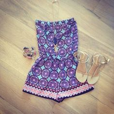 Pink & blue romper.. Love these colors together!