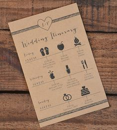 Wedding welcome bag itinerary on @offbeatbride