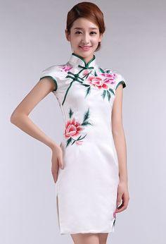 White Silk Floral Embroidery Mini Cheongsam Qipao Dress - iDreamMart.com
