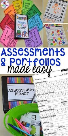 Make assessments & portfolios easy and manageable! Just print assess record and file! Perfect for preschool pre-k and kindergarten. Kindergarten Assessment, Kindergarten Lesson Plans, Preschool Curriculum, Kindergarten Classroom, Preschool Activities, Homeschooling, Preschool Writing, Curriculum Planning, Lesson Planning