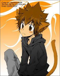 Tsuna Cat Gijinka OMO He's so cute! ♪