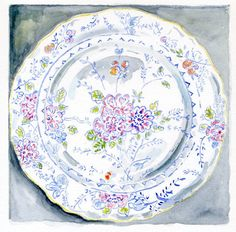 Still Life Kitchen Decor of Original Watercolor Painting -- Floral Vintage Plate. via Etsy.
