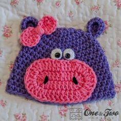 Hippo Hat - 3 sizes - FREE Crochet Pattern from @One and Two Company