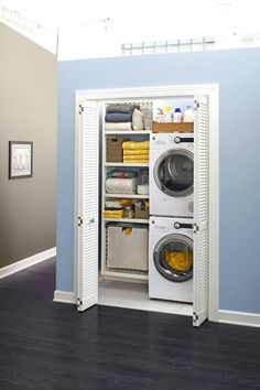 Make laundry less of a chore by moving your washer and dryer to a more convenient spot. See how a hall closet is converted to accommodate a stacked washer and dryer. Small Laundry Rooms, Laundry Room Design, Laundry In Bathroom, Laundry Area, Laundry Hamper, Compact Laundry, Small Bathroom Floor Plans, Stackable Washer And Dryer, Laundry Room Organization