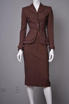 VINTAGE 1940's 1950's skirt suit UK Size 8 Colour: Brown. $150.00, via Etsy.