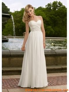 Sweetheart Elegant Beading Ivory Chiffon Wedding Dresses 201...