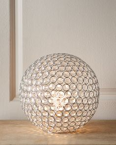 """Bosley"" Crystal Ball Lamp at Neiman Marcus. Made of glass. 13.5""Dia. x 12""T. Imported."