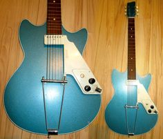 You can easily recognize here an Egmond guitar with its white plastic block comprising the neck pickup and a slanted pickguard ending in a control plate under which all the electronics are. This system could turn any guitar into an electric one - either hollow or solid body. Even knowing that this early 1960s Manhattan model was a cheapo (and concretely this means no truss rod), its minimalist design is quite cool and this model with very pop Lake Placid blue finish is in good condition.