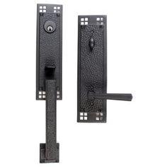 Emtek 4811US19 Flat Black Arts and Crafts Single Cylinder Keyed Entry Designer Brass Handleset