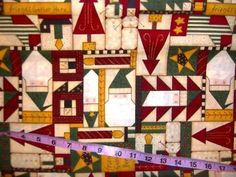 Christmas fabric Santa Claus patchwork quilting sewing material 1y Leslie Beck