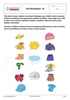 Lkg Worksheets, Weather Worksheets, Free Kindergarten Worksheets, Preschool Kindergarten, Preschool Learning, Printable Worksheets, Printables, What To Wear Weather, Arts And Crafts For Kids Toddlers