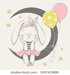 Vector illustration of a cute dreaming bunny girl, sitting on the moon. Vector illustration of a cute dreaming bunny girl, sitting on the moon. Baby Animal Drawings, Cute Drawings, Scrapbooking Image, Baby Girl Drawing, Baby Animals, Cute Animals, Illustration Mignonne, Illustrator, Animal Illustrations