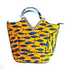 African Print Bag, Yellow African Print Tote
