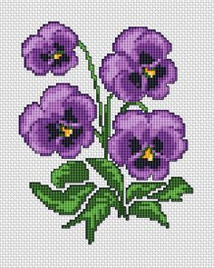 Purple Violets free cross stitch pattern