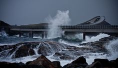 Atlanterhavsveien (Atlantic Ocean Road), Norway. Despite looking menacing in bad weather conditions, Atlanterhavsveien is actually ranked as one of the best scenic roads in the world, with insane curves and epic vistas.