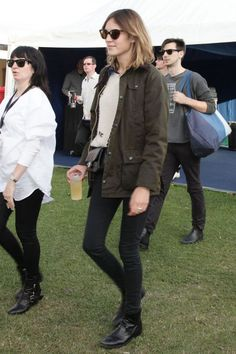 Alexa Chung in Classic Barbour Bedale