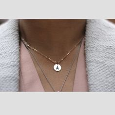 Stainless Charm Necklace, Constellation Jewelry, Choker Tiny Pendant - Mini Wim Initial Jewelry, Initial Necklace, Custom Pet Tags, Silver Gifts, Round Pendant, Love Design, Simple Jewelry, Best Friend Gifts, Rose Gold Plates