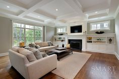 Family Room   Classic Chic Style Custom Home   Coffered Ceiling Detail   Recessed Lighting   Custom Built-In Cabinetry  Crown Moulding   Hardwood Floors   Granite Fireplace Surround   Smart Builders, Inc. Craftsman Interior, Interior Rugs, Craftsman Homes, Modern Craftsman, Craftsman Style, Custom Home Builders, Custom Homes, Home Renovation, Home Remodeling
