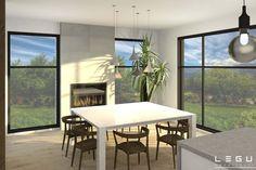 Plan de Maison Moderne Ë_137 | Leguë Architecture Home Design Floor Plans, House Floor Plans, Best Investments, Home Remodeling, Dining Table, House Design, Flooring, Furniture, Home Decor