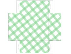 Green Gingham Mini Gift Box Template by Madoline Hatter