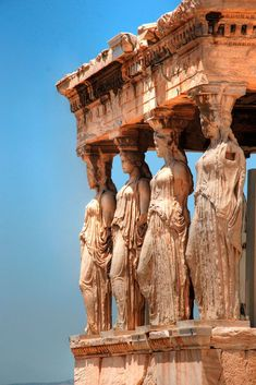 The most celebrated example is the Caryatid Porch - of the Erechtheum w six figures - 415 bc) on the Acopolis in Athens, Greece // Things to Do in Greece, Cheap Things to Do in Greece, Greece Travel Guide Ancient Ruins, Ancient Greece, Ancient History, Athens History, European History, Ancient Artifacts, Ancient Architecture, Beautiful Architecture, Art And Architecture