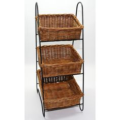 Natural Interiors Vegetable Rack With 3 Rattan Baskets