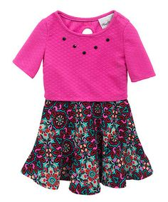 Another great find on #zulily! Fuchsia & Black Floral-Skirt Dress - Girls #zulilyfinds