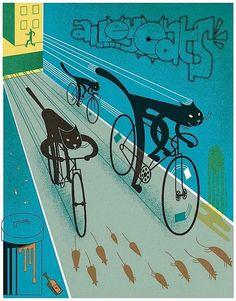 Alleycats for Bike Night - Doug Ross Bicycle Illustration, Illustration Art, Logo Velo, Maurice Careme, Graphisches Design, Graphic Design, Black Cat Art, Black Cats, Bike Poster