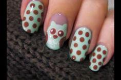 Cute owl nail art!
