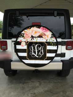 Striped floral print monogram jeep tire cover!