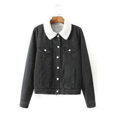 Yoins Yoins Moto Washed Denim Jacket ($55) ❤ liked on Polyvore featuring outerwear, jackets, black, denim jackets, black jacket, collar jacket, cowboy denim jacket, jean jacket and western jacket