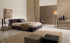 Inspiring Contemporary Bedroom Design Ideas : Good Looking Contemporary Bedroom Decorating Ideas With Stand Light Brown Queen Sized Beds Pillow Blanket And Wooden Sidetable Also Rug With Cushion And Wardrobe On Furnishing Floors
