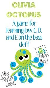 Make learning new notes fun and exciting! Let Olivia Octopus help introduce low C, D, and E in the bass cleff.