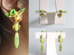 handmade leafeon pokemon earrings out of pearl polymer clay. on sale at https://www.etsy.com/listing/161461744/leafeon-pokemon-earrings
