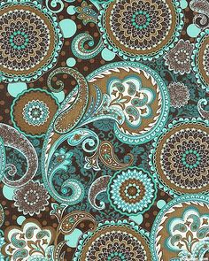 French Dress - Paisleys & Medallions Color way with etched. Cell phone Wallpaper / Background for all cells from Zedge app or website. Just like my Vera Bradley bag Brown and teal paisley pattern Women's Pattern by Liesel + CO. ~ It's a Colorful Life ~ Paisley Art, Paisley Design, Paisley Pattern, Pattern Art, Pattern Design, Textile Patterns, Textile Design, Textiles, Mandala Art