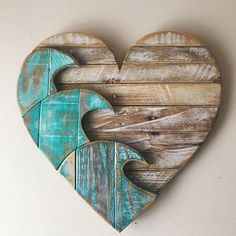 Our blue wave heart, created from our own design. It is cut, sanded, glued and nailed together by hand. On the back is wood support that helps hold it all together with a wire for easy hanging. It's perfectly chunky and baby satin Arte Pallet, Diy Pallet, Pallet Ideas, Beach Crafts, Diy Crafts, Wood Crafts Summer, Barb Wire Crafts, Driftwood Art, Painted Driftwood