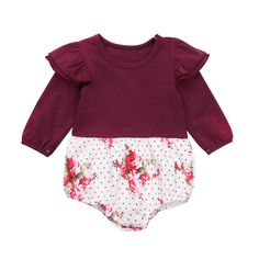 Infant Toddler Baby Girl Long Sleeve Ruffles Floral Romper Bodysuit Outfit Fall Clothing Wine Red 06 Months ** Read more at the image link.(It is Amazon affiliate link) #BabyGirlClothingCollection