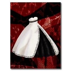 Black and White Wedding Gown Postcards