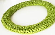 Scarf Crochet Necklace. Lime Green. Merino Wool Necklace.