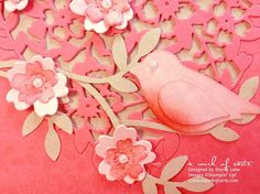 Bird on a Branch Valentine featuring Bloomin' Hearts Thinlits Dies and the Stampin' Up Bird Builder Punch   A Work of Carte