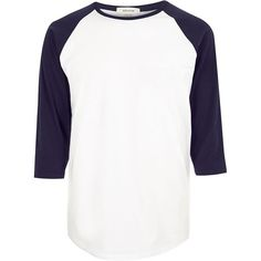 River Island White raglan top ($17) ❤ liked on Polyvore featuring men's fashion, men's clothing, men's shirts, men, shirts, white, mens raglan shirt, mens apparel, mens white shirt and mens crew neck t shirts