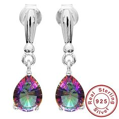 AYT High Quality 2ct Water Drop Genuine Rainbow Fire Mystic Topaz Drop Earrings 925 Sterling Silver For Women New Gem stone Jewelry >>> Details can be found by clicking on the image. (This is an affiliate link) #Earrings