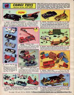 Corgi Cars from the Batmobile Green Hornet's Black Beauty, James Bond's Austin Martin Vintage Toys 1960s, 1960s Toys, Retro Toys, Vintage Games, Retro Advertising, Vintage Advertisements, Childhood Toys, Childhood Memories, Corgi Husky