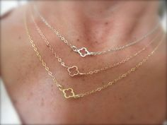 Tiny clover chain  necklace by 19bis on Etsy