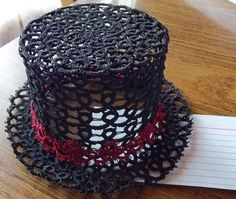 Black Needle Tatted Top Hat Fascinator