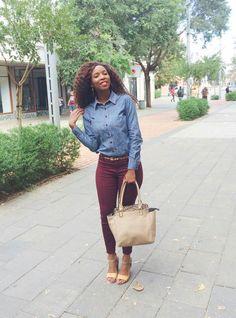 Denim shirt + maroon pants × accessories = a fine autumn day