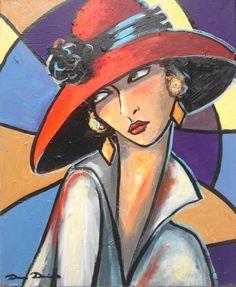 """""""Yesterday...."""" (Peinture),  50x61 cm par Dam Domido Portrait expressionniste à l'huile, esprit art déco œuvre unique et origanle"""
